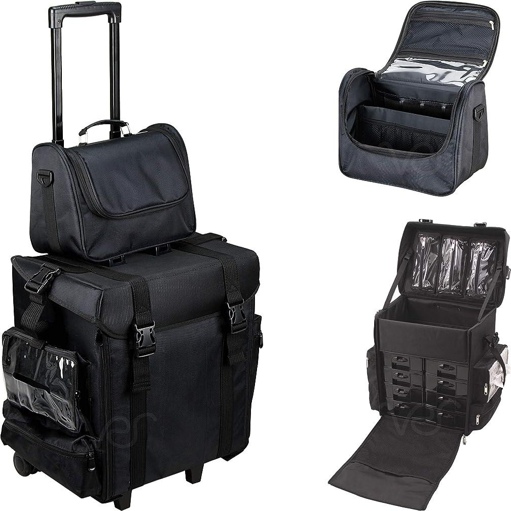Ver Beauty DT5471NLAB 2-in-1 Soft Sided Rolling Trolley Nylon Storage Art Craft Tool Case Organizer Travel Mirror – T5471 Black