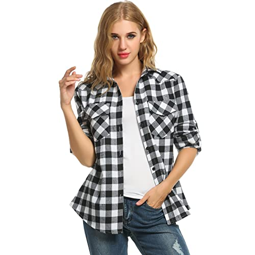 8883a87f Women's Plaid Flannel Shirt, Roll Up Long Sleeve Checkered Cotton Boyfriend  Shirt