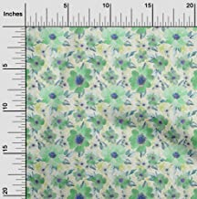 oneOone Velvet Mint Green Fabric Leaves & Watercolor Flower Floral Fabric for Sewing Printed Craft Fabric by The Yard 58 I...