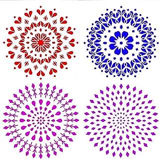 Demason Mandala Plantilla DIY Plantilla (4 Pack) Plantillas para Estarcir Pintar en Paredes Aparadores Robas Vidrios ...