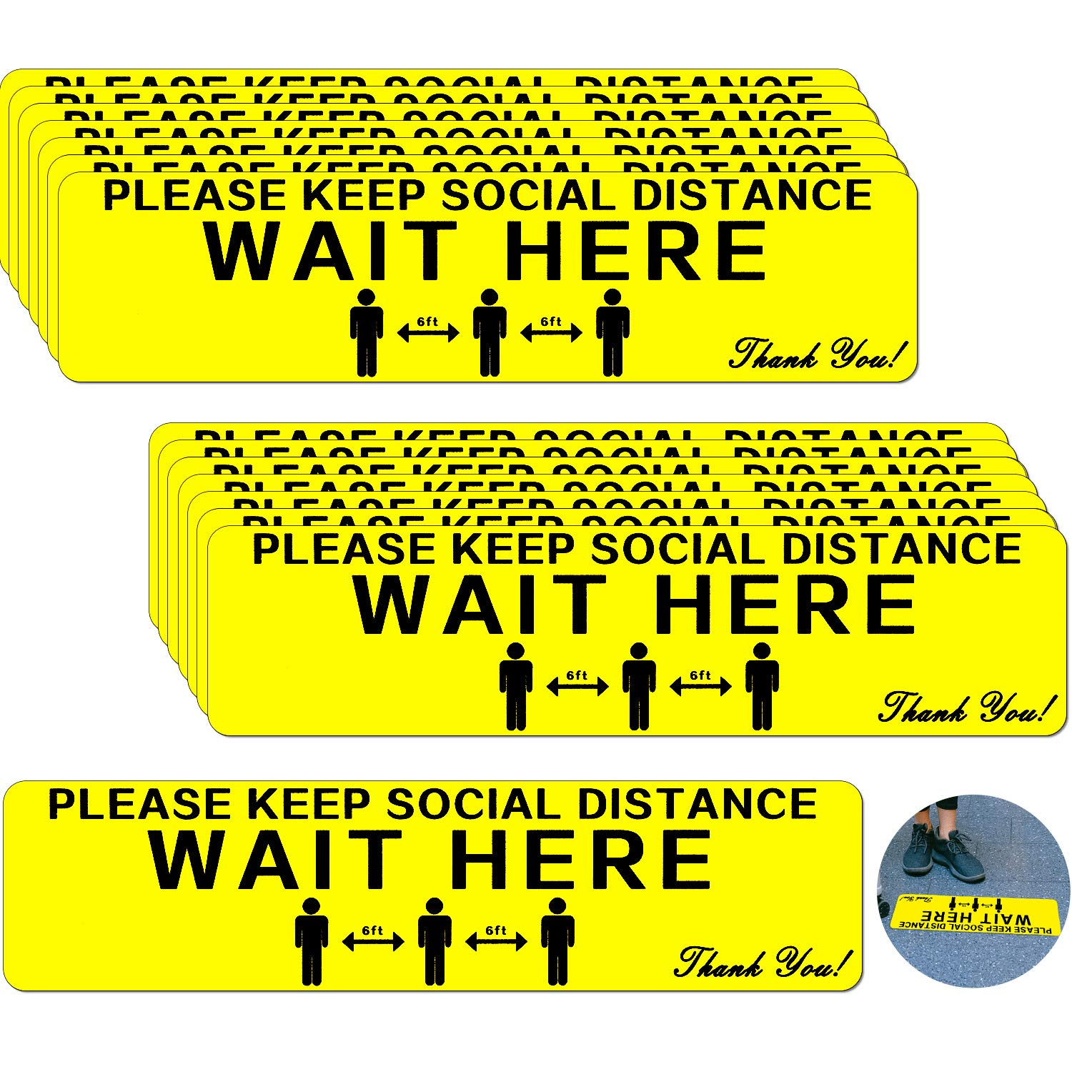 15 Pieces San Antonio Mall 12 x 3 Cheap super special price Inch Social Safe Adhesive Floor Distancing Sign