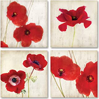 Beautiful Bright Red California Poppies; Floral Decor; 4-12x12
