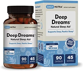 Deep Dreams Natural Sleep Aid by DailyNutra - Deep, Restful Sleep Supplement - Non-Habit Forming Sleeping Pills | with Mel...
