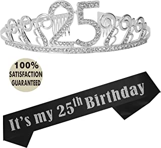 25th Birthday Tiara and Sash, Happy 25th Birthday Party Supplies, It's My 25th Birthday Black Satin Sash and Crystal Tiara Birthday Crown for 25th Birthday Party Supplies and Decorations (Silver)