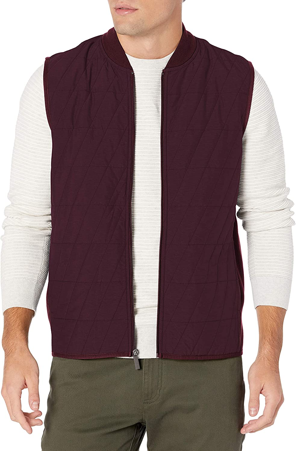 Perry Ellis Men's Big & Tall Quilted Front Full Zip Ponte Sleeveless Vest
