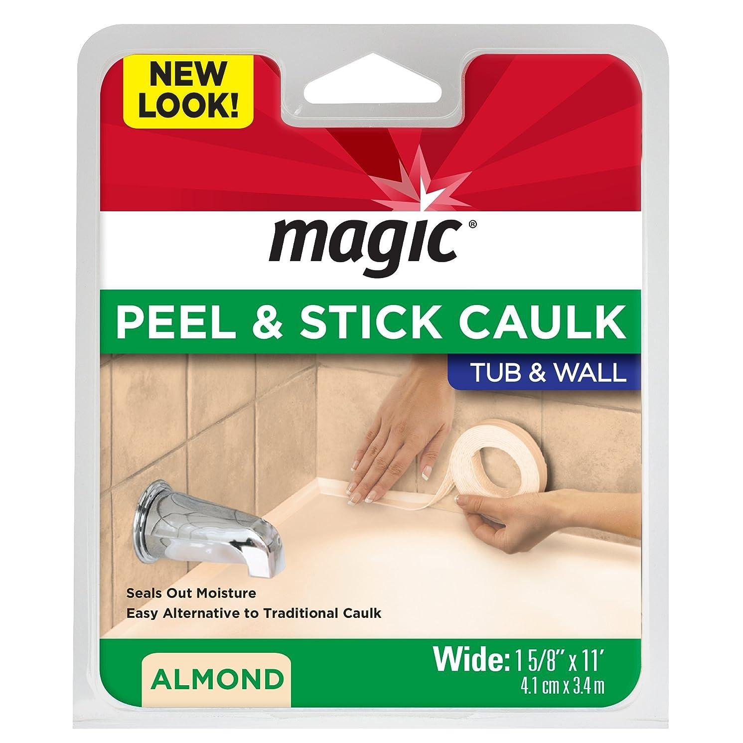 Magic Tub and Wall Peel & Caulk Strip - Create a Tight Seal Between the Bathtub and Wall to Keep Moisture Out - 1-5/8
