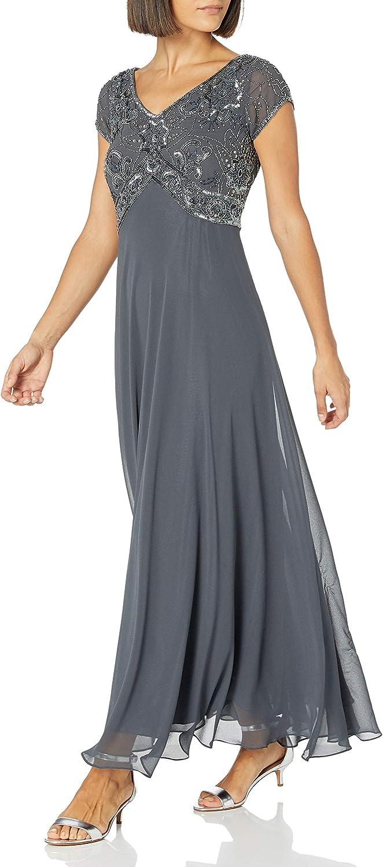 J Kara Women's Cap V-Neck Beaded Dress