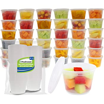 Freshware Food Storage Containers [50 Set] 16 oz Plastic Deli Containers with Lids, Slime, Soup, Meal Prep Containers | BPA Free | Stackable | Leakproof | Microwave/Dishwasher/Freezer Safe