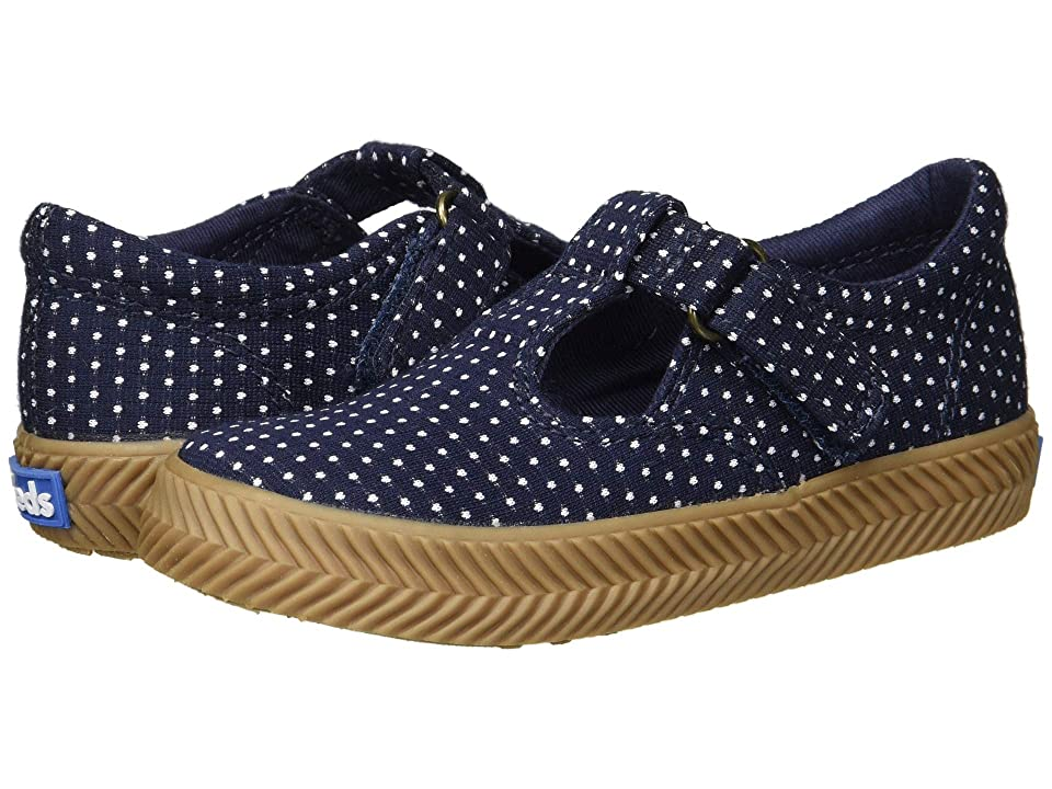 Keds Kids Daphne Herringbone (Toddler/Little Kid) (Navy Dot Textile) Girls Shoes