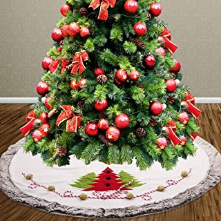 BS ONE Christmas Tree Skirt,48 inch Large Luxury Thicken Skirt with Plush Faux Fur Edge Rustic Xmas Tree Holiday Decorations with Christmas Stocking Decorations