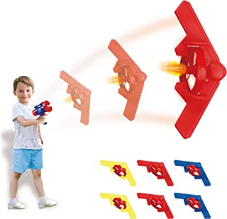 Play22 Lunar Launcher Toy Flying Airplane Disc Gun – 6 Flying Airplane Set for Kids - UFO Flying Saucers Flys Over 50 Feet - Shoot and Fly Airplane Toy, Gun Spin Toy for Indoor and Outdoor Best Gift