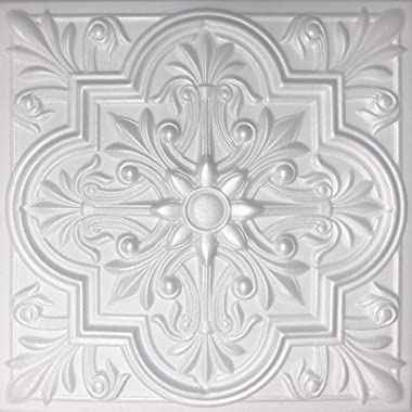 White Styrofoam Decorative Ceiling Tile Regal (Case of 40 Tiles)
