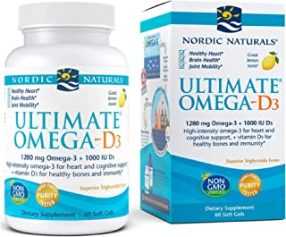 Nordic Naturals Ultimate Omega-D3, Lemon Flavor - 1280 mg Omega-3 + 1000 IU Vitamin D3-60 Soft Gels - Omega-3 Fish Oil - E...