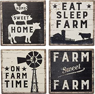 Primitives by Kathy 39412 Absorbent Stone Coasters, Set of 4, Sweet Farm