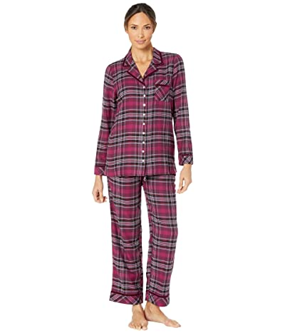 Eileen West Cotton Rayon Flannel Woven Notch Collar Pajama Set (Holiday Plaid) Women
