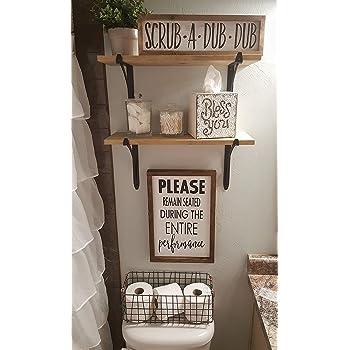 Prim Funny Bathroom Vintage Bath Room Humor Wall Print Gag Laugh Art Farmhouse