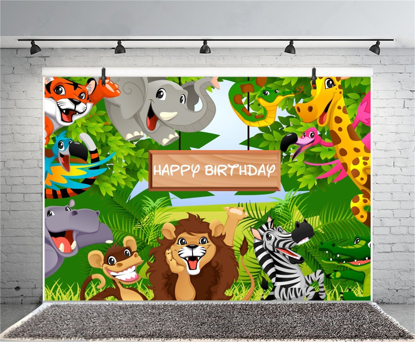 COMOPHOTO Jungle Safari Birthday Backdrop White Wood Crown Animals Birthday Banner 7x5ft Cake Table Decoration Photography Background for Photo Booth Newborn Kids Photo Studio Props