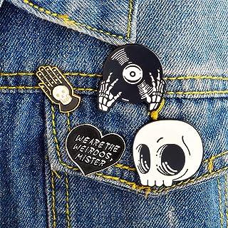 Shinmond 4pcs Funny skull record alloy oil dripping Brooch Enamel Pin Cartoon Lapel Brooch