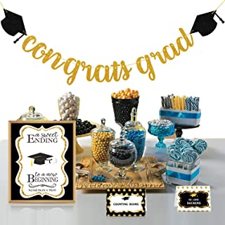 2020 Graduation Party Decorations - Candy Bar Buffet Glitter Banner Sign Label Tent Cards Set - Grad Supplies Decor for Highschool Prek - Black and Gold