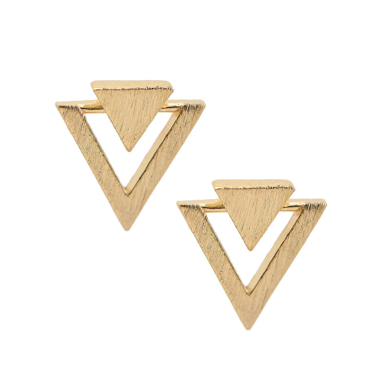 Spinningdaisy Handmade Brushed Metal Double Triangle Earrings