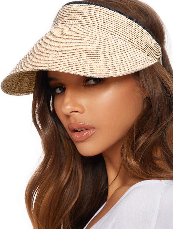 FURTALK Womens Sun Visor Hat Straw Sun Visors for Women Summer Packable Ponytail Beach Hats for Women Travel UPF 50+
