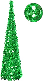YUQI 5FT Christmas Pop Up Tinsel Trees Collapsible Reusable, Artificial Green Shiny Sequins Pencil Xmas Slim Tree Easy-Assembly with Plastic Stand for Home Apartment, Store, Wedding Decoration