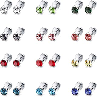 12 Pairs Stainless Steel CZ Stud Earrings for Women Girls Cubic Zirconia Cartilage Stud Earring Screwback 4mm 6mm 8mm
