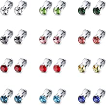 ORAZIO 12 Pairs Stainless Steel CZ Stud Earrings for Women Girls Cubic Zirconia Cartilage Stud Earring Screwback 4mm 6mm 8mm