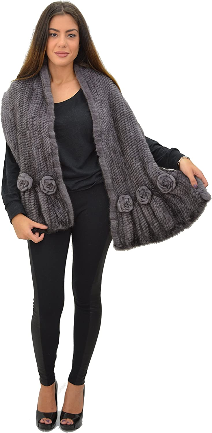 100% Mink Knit Fur Large Scarf/Shawl with Rosettes - Grey