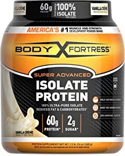 Body Fortress Super Advanced, Whey Protein Isolate Powder, Keto Diet Friendly, Gluten Free, Vanilla, 60 g of Protein, 24 O...
