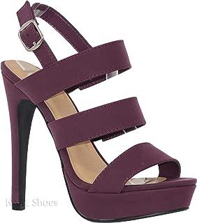 MVE Shoes Women's Open Toe Laces Back Zipper High Heel Pumps-Shoes