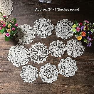 Mindplus Set of 10pcs Cotton Hand Made Crochet Doilies 6-7 inches Round White Vintage Wedding Tea Party