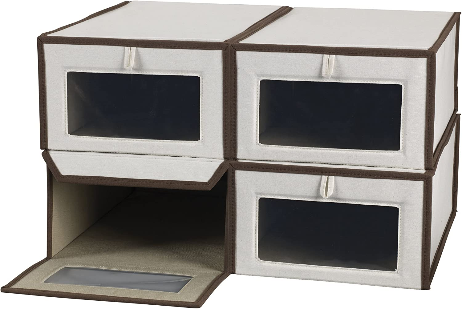 Household Essentials Set of Four Large shoes Storage Boxes, Natural Canvas with Brown Trim