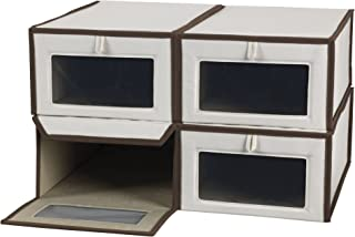 Household Essentials Set of Four Large Shoe Storage Boxes, Natural Canvas with Brown Trim
