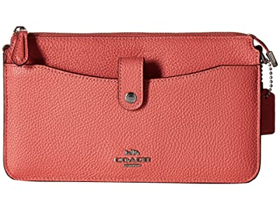 COACH Pop Up Messenger in Polished Pebble Leather (Bright Coral/Silver) Messenger Bags