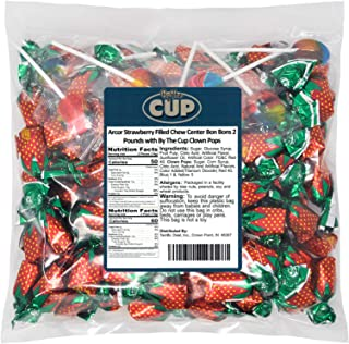 Arcor Strawberry Filled Chew Center Bon Bons 2 Pounds with By The Cup Clown Pops