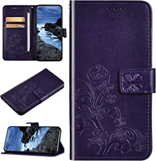 Urhause Case Compatibel met Galaxy M30 Case Glossy PU Lederen Portemonnee Cover met Kaartsleuven 3D Bloem Kickstand Magnet...
