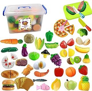IQ Toys - Juego de 40 piezas para cortar alimentos para niños, utensilios de cocina, frutas, verduras, pizza con cuchillos y cortador de pizza incluye un recipiente de almacenamiento