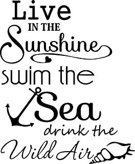 Ideogram Designs Wall Decal Live in the sunshine swim the sea drink the wild air. cute ocean Ralph Waldo Emerson inspired Vinyl Wall Decor Quotes Sayings Inspirational wall Art