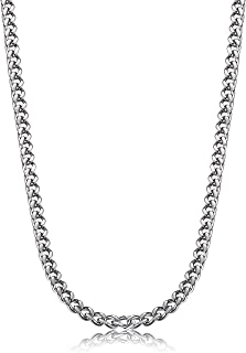 3.5-6mm Stainless Steel Mens Womens Necklace Curb Link Chain, 16-30 inches