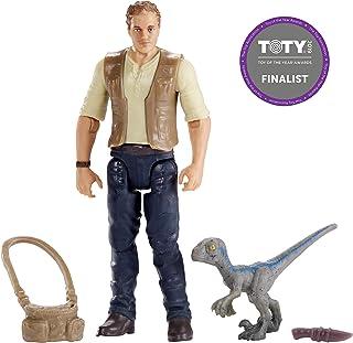 Jurassic World Figura básica Owen con dinosaurio de juguete bebé Blue (Mattel FMM01)