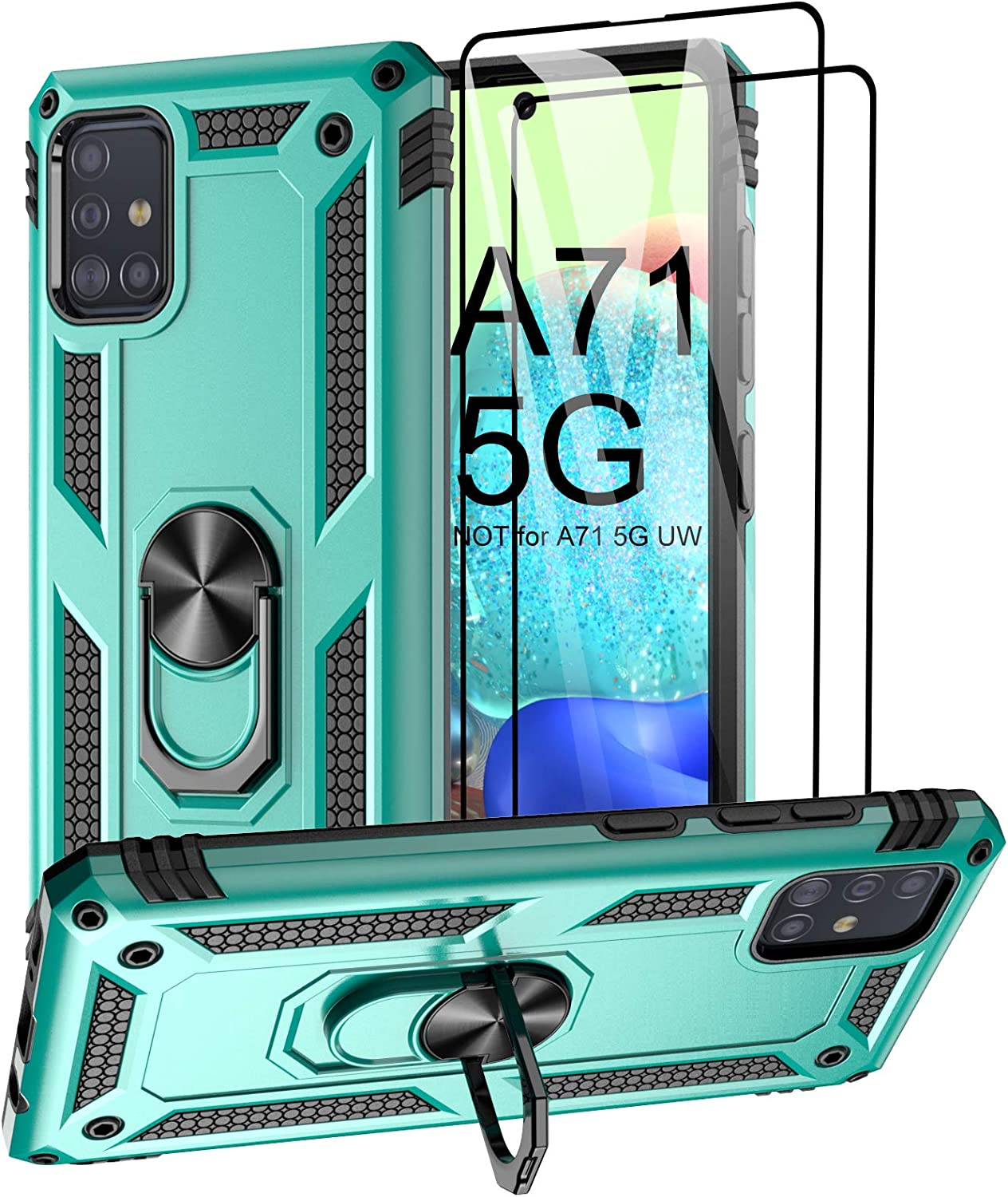 Aliruke Case for Samsung Galaxy A71 5G Case with 2 Tempered Glass Screen Protector, Military Grade Drop Tested Cover Grip Ring Kickstand Protective Phone Cases for Samsung Galaxy A71 5G A716U, Mint