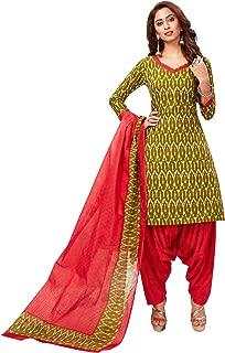 Jevi Prints Women's Cotton Printed Straight Stitched Salwar Suit Set (SUIT_SP-4646_Beige & Red)
