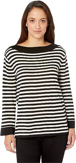Boat Neck Contrast Collar & Sleeve Hem Sweater