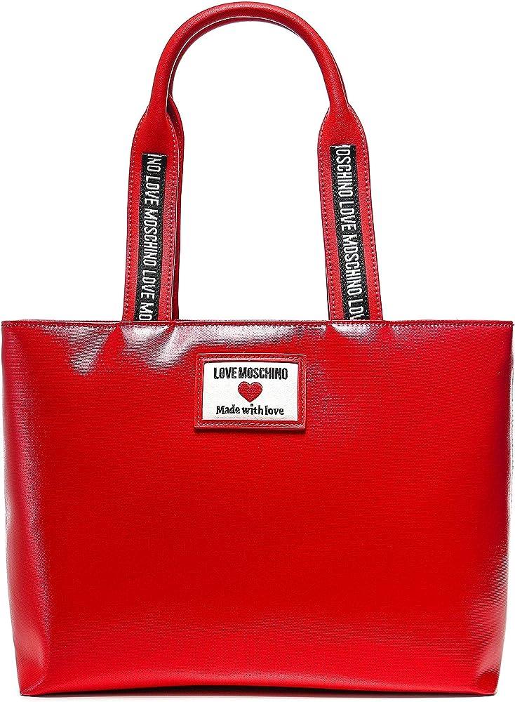 Love moschino precollezione ss21, sporty label, borsa shopper da donna, in pelle sintetica e canvas lucido JC4030PP1CLC150AU
