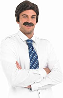 fun shack Mens Movie Newsreader Wig & Moustache Adults Comedy Film Costume Accessories