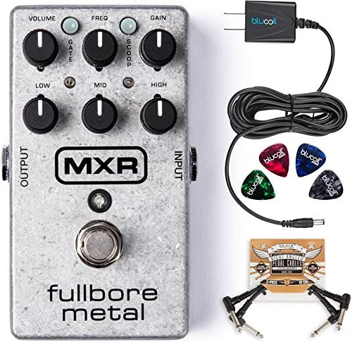 wholesale MXR M116 Fullbore Metal 2021 Distortion Pedal Bundle with Blucoil Power Supply Slim AC/DC Adapter for 9 Volt DC 670mA, 2021 2-Pack of Pedal Patch Cables, and 4-Pack of Celluloid Guitar Picks sale