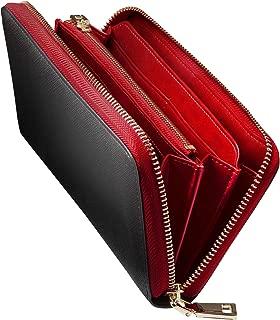 GLEVIO(グレヴィオ) 財布 メンズ 長財布 ラウンドファスナー 小銭入れ ブラック×レッド