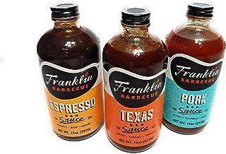Franklin Barbecue Sauce 12.5oz Bottle (Pack of 3) (Sampler Pack 1 of Each Flavor)