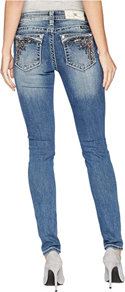 Mid-Rise Skinny with Ruffle Back Pockets in Medium Blue